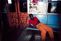 untitled, subway, new york, [orange pants] by bruce davidson